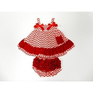 Red Chevron Sleeveless Cotton Swing Top Set Girls S-L