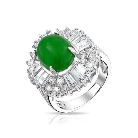 Asian Style Oval Green Dyed Jade Baguette Crown Cubic Zirconia CZ Statement Ring For Women Silver Plated Brass