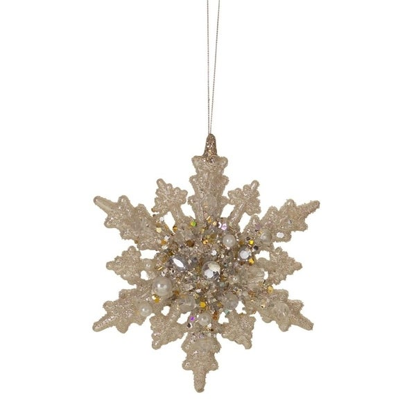 Set of 6 Gold Glittered Beaded Snowflake Christmas Ornaments 6""
