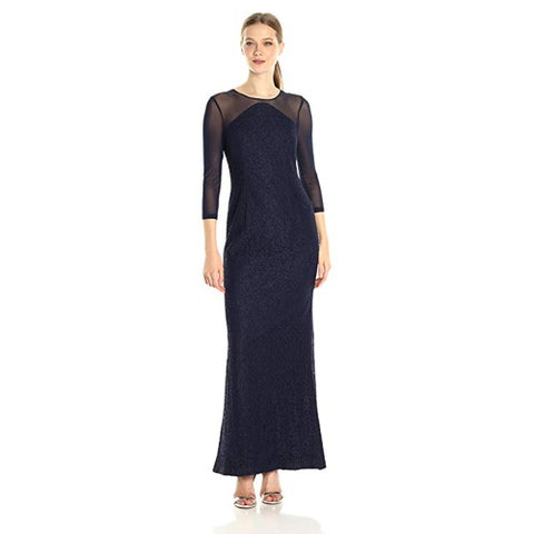 Adrianna Papell Lace Modified Mermaid Gown, Navy, 14