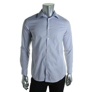 Calvin Klein Mens Checkered Tab Collar Button-Down Shirt - XL