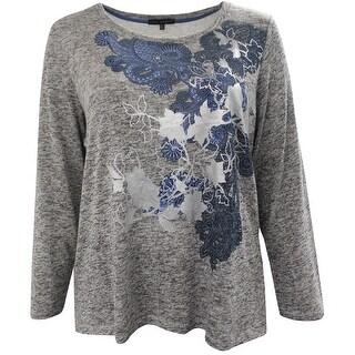 Women Plus Size Long Sleeve Floral Foil Design Knit Top Blouse Sweater Heather Gray