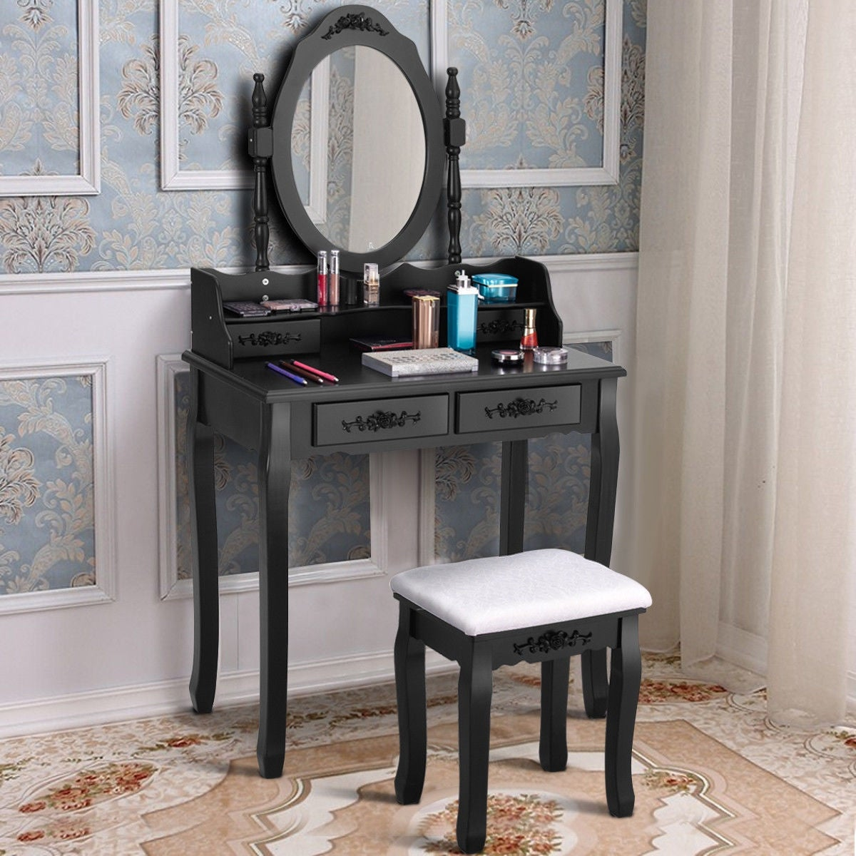 Ordinaire Costway Vanity Wood Makeup Dressing Table Stool Set Bedroom Mirror 4  Drawers Black