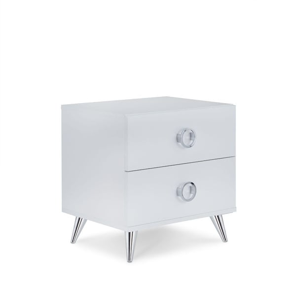 Q-Max Contemporary Style Silver Tapered Legs Wood Nightstand. Opens flyout.