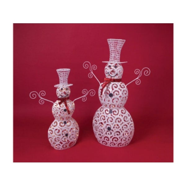 """Set of 2 Mod Holiday White/Red Glittered Lighted Snowmen - Clear Lights 36""""-48"""" - multi"""