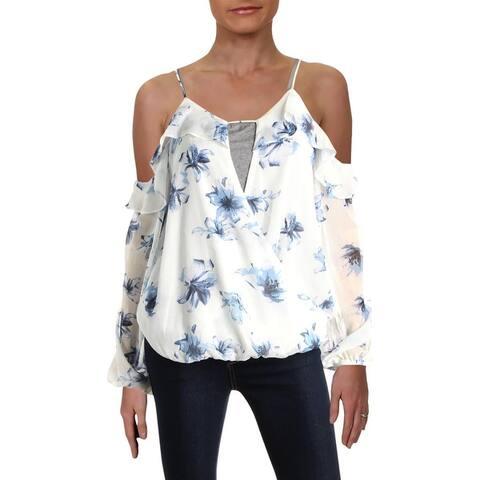 Aqua Womens Pullover Top Cold Shoulder Blouson