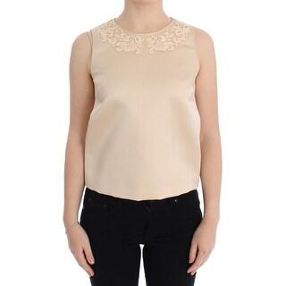 Dolce & Gabbana Dolce & Gabbana Beige Silk Lace Tank Blouse Top T-shirt - it40-s