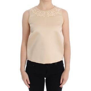 Dolce & Gabbana Beige Silk Lace Tank Blouse Top T-shirt - it40-s