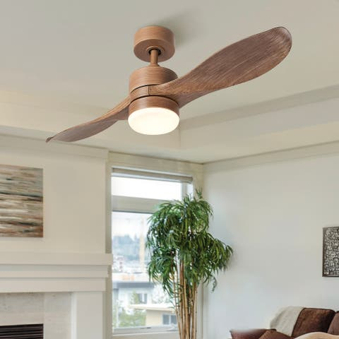 """42"""" 2-Blade Reversible Ceiling Fan with LED Light Remote And Timer-Walnut/Nickel"""