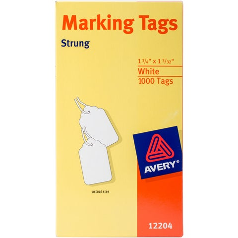 "Avery White Marking Tags 1.75""X1.09375"" 1000/Pkg-Strung"