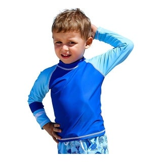 Sun Emporium Baby Boys Aqua White Stitch Long Sleeve Rash Guard