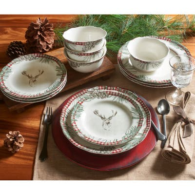 222 Fifth Somers Creek 12 Piece Dinnerware Set, Mount Holly Red