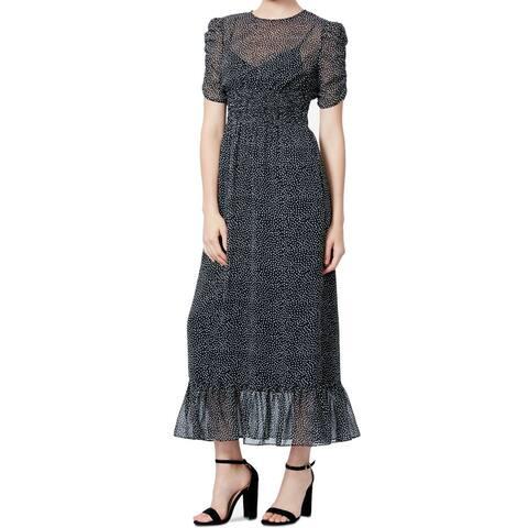 Betsey Johnson Womens Dress Smocked Polka-Dot Ruffle Maxi