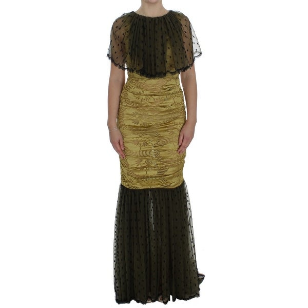 Dolce & Gabbana Yellow Black Floral Lace Ricamo Gown Dress - it40-s