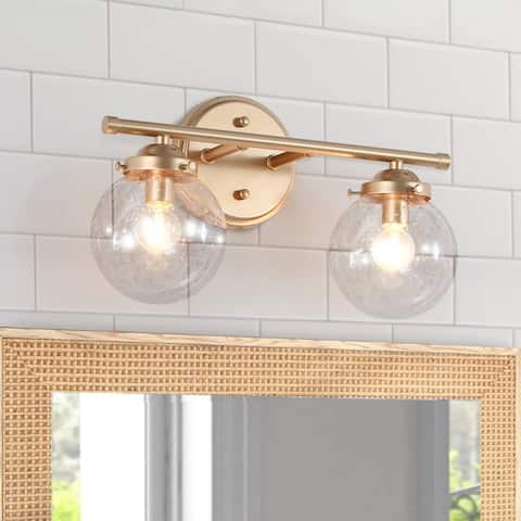 "Modern Gold 2-light Globe Bathroom Vanity Lights Seeded Glass Wall Lamp - L14"" x W6.5"" x H8"""