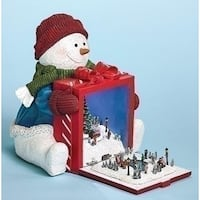"""8"""" Red and White Snowman Holding Gift with Rotating Train Musical Christmas Figure - LED Lights"""
