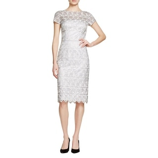 David Meister Womens Cocktail Dress Lace Overlay Sheath