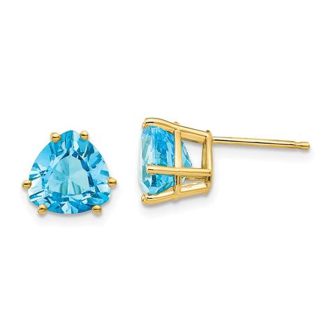 14K Yellow Gold 8mm Trillion Blue Topaz Earrings by Versil