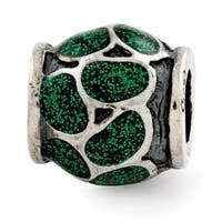 Italian Sterling Silver Reflections Green Enamel with Sparkles Bead