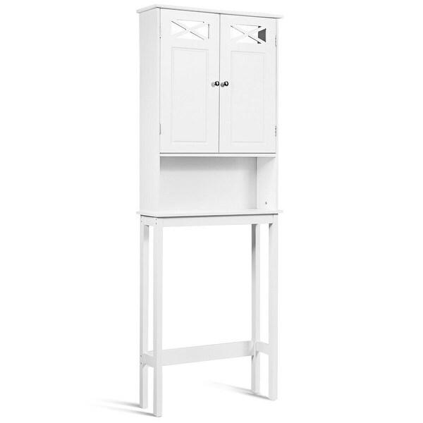 Gymax 2-Door Over The Toilet Bathroom Space Saver Storage Cabinet w/ Adjustable Shelf