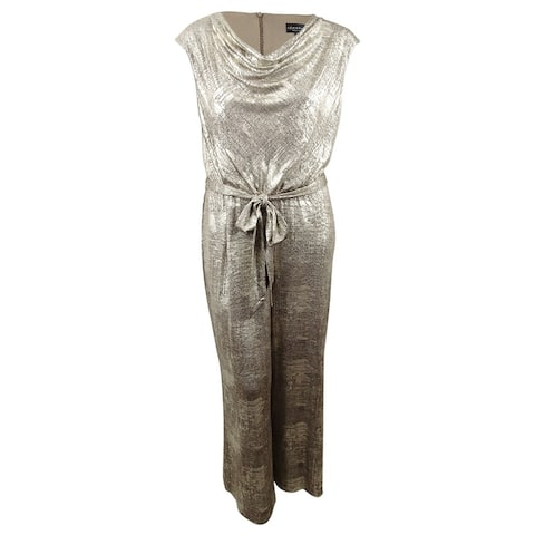 Connected Women's Plus Size Plus Size Metallic Cowl-Neck Jumpsuit - Flax