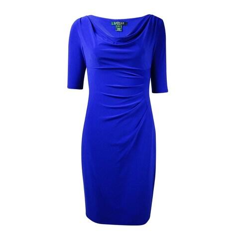 Lauren Ralph Lauren Women's Cowl Tucked Jersey Dress - deep azure