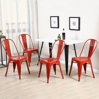 Belleze Trattoria Dining Chair, Metal, Stackable, Set of 4