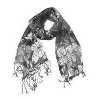 Women's Fashion Floral Soft Wraps Scarves - F10 Grey - Large