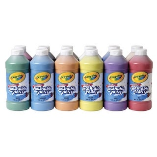 Crayola Non-Toxic Washable Tempera Paint Set, 1 pt Squeeze Bottle, Assorted Brilliant Color, Set of 12