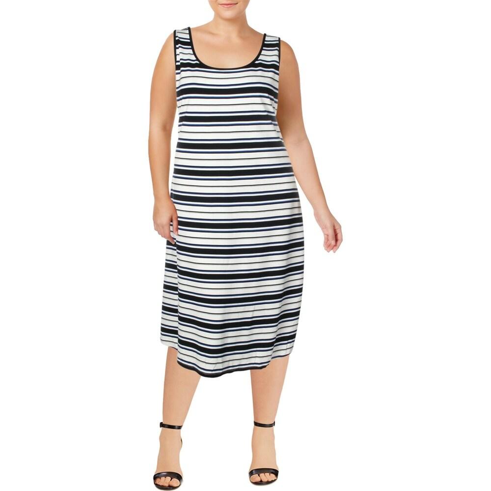 Lauren Ralph Lauren Womens Plus Maxi Dress Striped Sleeveless - Navy Multi - 3X