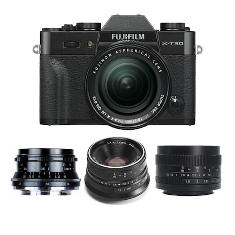Fujifilm X-T30 Mirrorless Camera (Black) with 18-55mm Lens Bundle