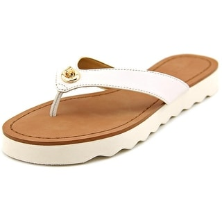 Coach Shelly Women Open Toe Leather White Flip Flop Sandal