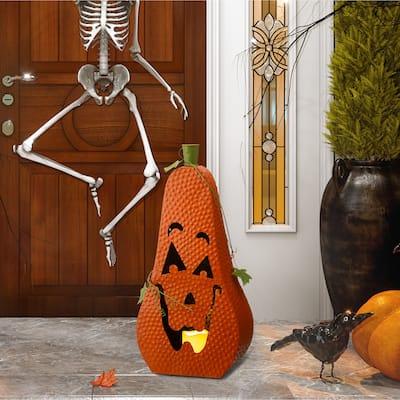 Glitzhome Halloween Metal Jack-O-Lantern with LED Pillar