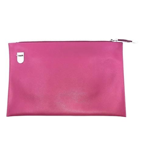 Prada Saffiano Lux Leather Pink Zipper Clutch Pouch Wristlet BP868T