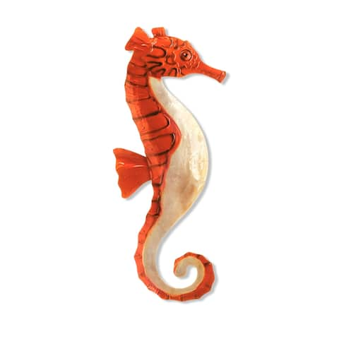 Handmade Red and Pearl Seahorse (Philippines) - 7 x 1 x 16