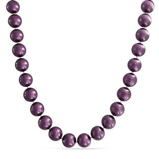 Bling Jewelry Round 14mm Purple Shell Pearl Rhodium Plated Statement Necklace
