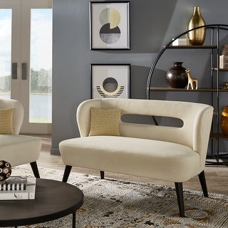 "Link to Sasha 48"" Espresso Finish Velvet Settee by iNSPIRE Q Modern Similar Items in Living Room Furniture"