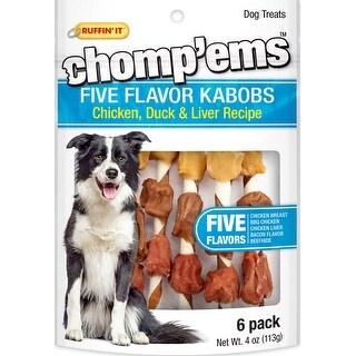 Ruffin' It Chomp'ems Five Flavor Kabobs 6/Pkg 4Oz-Chicken, Duck & Liver