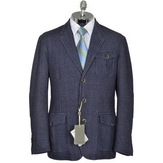 Canali Thermore Insulated Blue Grey Houndstooth Blazer Jacket 46R XX-Large