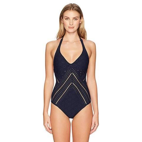Robin Piccone Women's Clarissa Plunge one Piece Swimsuit, Midnight Navy, 6