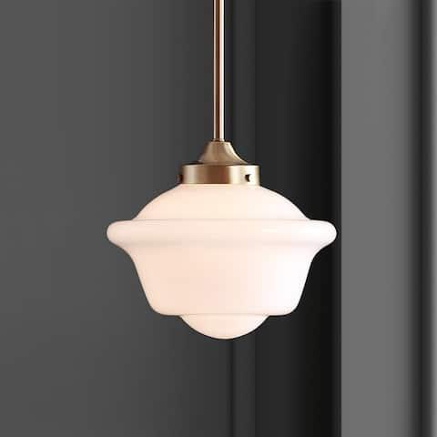 "Kurtz 9.5"" Adjustable Drop Metal/Glass LED Pendant, Brass Gold/White by JONATHAN Y"