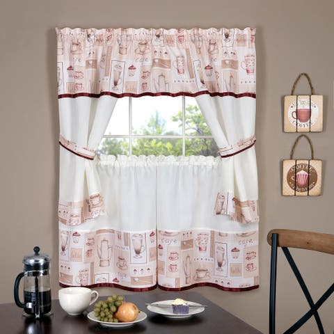 Cappuccino Printed Kitchen Curtain Tiers & Swag Set, 56x36 Inches - 56x36 Inches