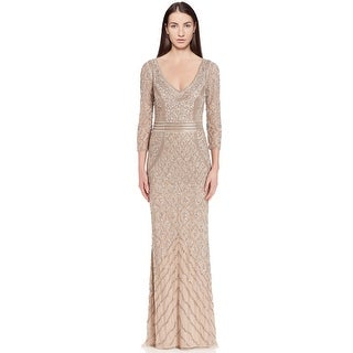 Theia Bead Embellished 3/4 Sleeve Column Evening Gown Dress