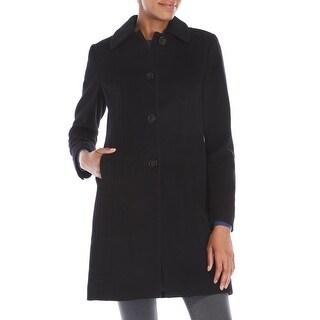Anne Klein Petite Single-Breasted Wool Coat