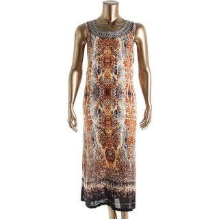 Nic + Zoe Womens Plus Embroidered Printed Casual Dress