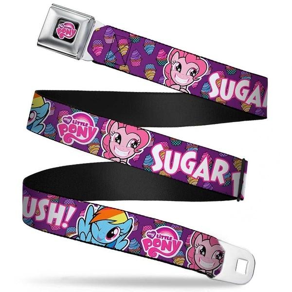 My Little Pony Logo Full Color Black Pink Pinkie Pie & Rainbow Dash Seatbelt Belt