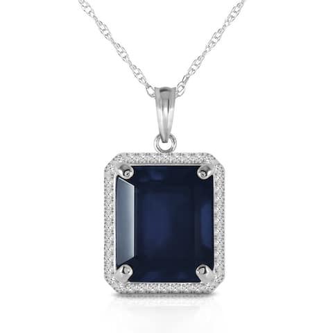 6.6 Carat 14K Solid Gold Gemstone Necklace Natural Diamond Sapphire