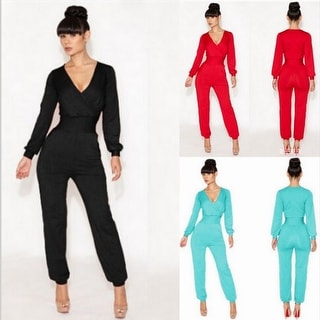 Womens Casual Deep V Neck Playsuit Pants Long Sleeve Club Jumpsuit Rompers Trousers