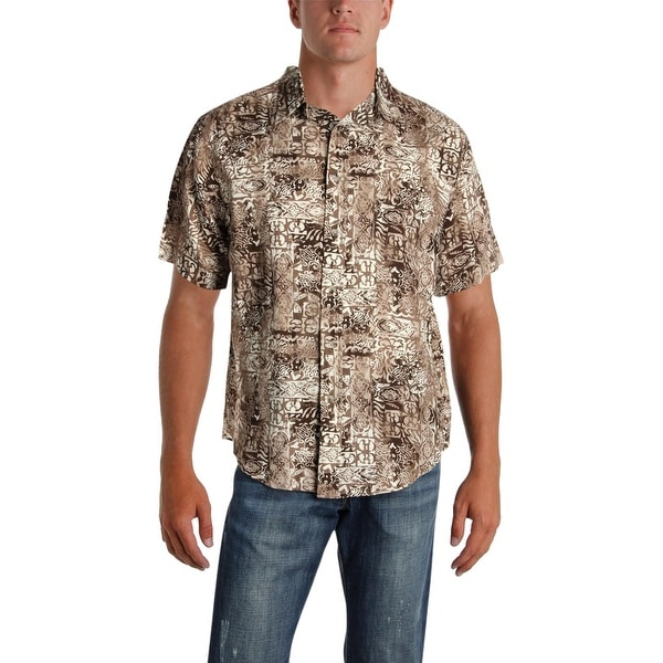 c7fd0d38 Shop Roundtree & Yorke Mens Hawaiian Print Shirt Linen Button Front - L -  Free Shipping On Orders Over $45 - Overstock - 26062940