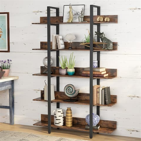 Industrial Style 5 Tiers Bookcase Etagere Book Shelves - Rustic Brown